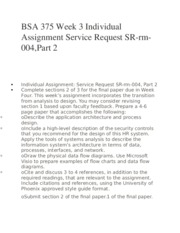 BSA 375 Week 3 Individual Assignment Service Request SR-rm-004,Part 2
