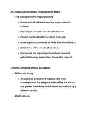 An Organizations Ethical Responsibility Notes
