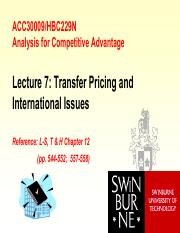 ACC30009_(Students)Lecture7_TransferPricingIntlIssues&PerformanceEvaluation - Copy