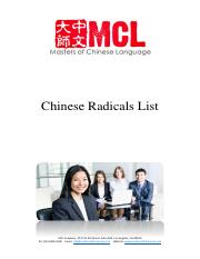 Chinese Radicals List - MCL Academy