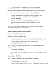 Lecture 2 Notes Two Views of the Role of Government