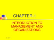 Chapter 01, Introduction to Management and Organizations