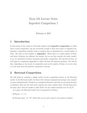 Lecture 11 - Imperfect Competition 1