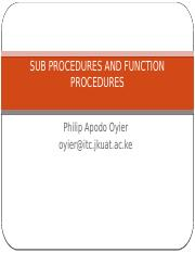 Sub and Function Prodecures Oct 2016