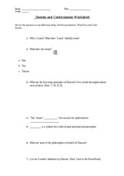 Daoism and Confucianism Worksheet - Modern Issues) 10) Who is ...