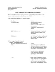 Honors Course Writing Enhancement Spring 2015