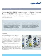 Application Note 337 - Setup of a Microbial Hyaluronic Acid Production Process Using the BioFlo 120