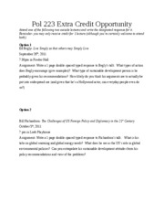 Pol 223 Extra Credit Opportunity 2011