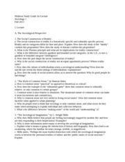 Midterm Study Guide for Lecture, Fall 2013