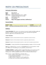 Course Syllabus for New Fall2011 Math 126 PRECALCULUS