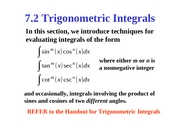 7.2 Trigonometric Integrals