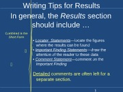 Writing Tips for Results