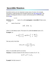 Invertible Matrices