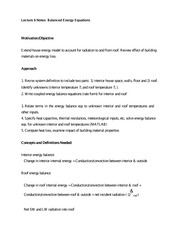 Lecture 6 Notes Balanced Energy Equations