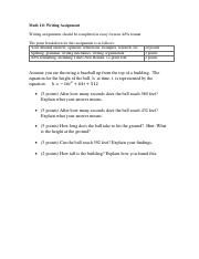Math 111 Projectile Writing Assignment