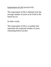 ACTSCI2053B Class Notes Expectation of Life