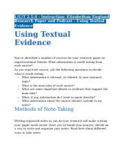 2.5.4 - Instruction - Elizabethan England Research Paper and Podcast - Using Textual Evidence.docx