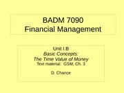 BADM 7090 IB 2011 - Basic Concepts (The Time Value of Money)