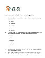 Assignment 13 _ BST and Binary Trees - Assignment 13 BST and