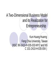 7 A Two-Dimensional Business Model and its Realization for