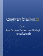 Topic 1 - About Companies, Company Law and the legal nature of Companies