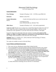 Syllabus CLP 4134, Summer 2014 Updated 06-11-14
