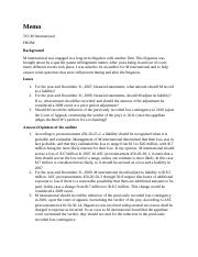 Accounting 301 Writing Assignment - Memo