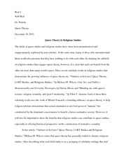 Queer Theory in Religious Studies - Final Paper