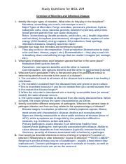 Study questions for BIOL 209  Overview of Microbes and Infectious Disease
