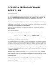 Expt 11 - Solution Preparation and Beers Law  - 1033_F18
