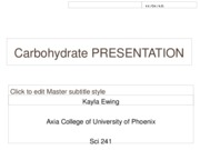 Carbohydrate PRESENTATION
