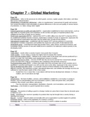 Study Guide - Chapter 7 - Global Marketing