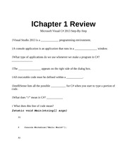 Chapter One review C#
