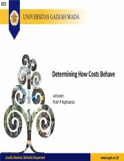 Lecture 3 Determining How Cost Behave