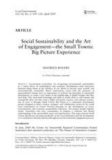 Social sustainability and the art of engagement--the small towns big picture experience