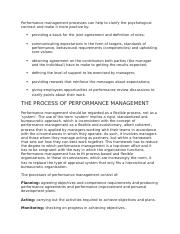 Performance management processes can help to clarify the psychological contract and make it more pos