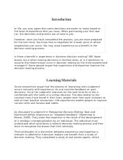 Experience in Decision Making - Intellepath - Unit 4.docx