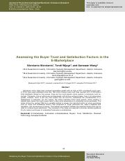Assesing the Buyer Trust and Satisfaction Factors in the E-Marketplace (Azim).pdf