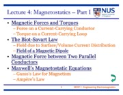 EE2011 Lecture 4 - Magnetostatics Part I