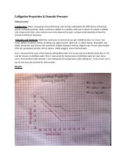 Tohnya Carney College Chemistry 1 Lab report Colligative Properties & Osmotic Pressure
