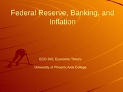 ECO 205 Week 8 Federal Reserve, Banking, and Inflation