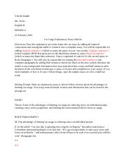 Car Usage Explanatory Essay Add On