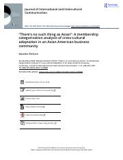 There s no such thing as Asian A membership categorization analysis of cross cultural adaptation in