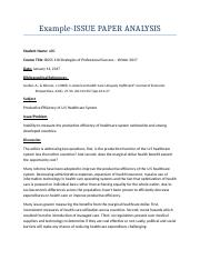 Example for Issue Paper Format for Business 110 Strategies for Professional Success.docx