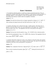PHY 2049 Exam 1 Fall 2014 Practice Solutions
