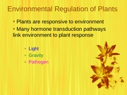 Environmental Regulations of Plants