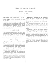Math 128 Hyperbolic Geometry Notes