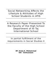 Social Networking Affects the Lifestyle & Attitudes of High School Students in ATIS.docx