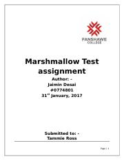 Marshmallow Test assignment