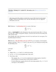 Lecture 20 (Alternating Series Test)